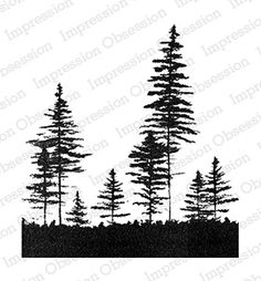 Impression Obsession - Cling Mounted Rubber Stamp - By Gail Green - Pine Trees Forest Tattoo Arm, Forest Tattoos, Nature Tattoos, Tree Silhouette Tattoo, Pine Tree Silhouette, Tree Tattoo Designs, Tattoo Sleeve Designs, Tree Sillouette, Kiefer Silhouette