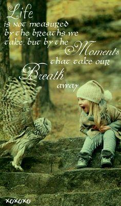 Life is not measured by the breaths we take, but the moments that take our breath away. ☆☆☆ A vida não é medida pelos momentos em que tomamos fôlego, mas pelos que nos deixam sem fôlego.