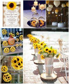 Tischdeko in grün und gelb, Tischdeko mit #Sonnenblumen, hier kannst ...