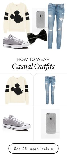 """Casual Disney"" by sydney1818 on Polyvore featuring Uniqlo, Current/Elliott, Converse and LA: Hearts"
