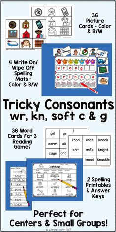 """Centers and spelling practice for words with """"tricky"""" consonants: wr, kn, soft c, and soft g. Includes  spelling mats, picture and word cards, and spelling printables. Perfect for first and second grade.  Easy prep for you, maximum engagement for your students!"""