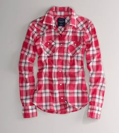 AE Plaid Western Shirt (like blue better)