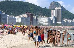 World famous Copacabana Beach in Rio. The rich and famous crowd to this beach.