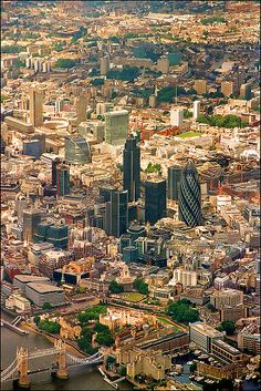 City of London: Tower Bridge and Tower of London (bottom of photo); Skyscrapers are in the Financial district (center)