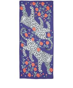 Karen Mabon Blue Leopard Rose Modal-Blend Scarf | Scarves | Liberty.co.ukFEATURES Leopard and rose print Gently frayed ends COMPOSITION 93% Modal, 7% Cashmere  DIMENSIONS 100cm x 200cm