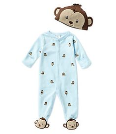 Starting Out Newborn-6 Months Monkey Footed Coverall & Hat Set | Dillard's Mobile