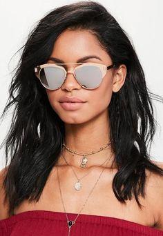 7740ddb62433c Rose Gold Metal Frame T-Bar Sunglasses Gold Sunglasses