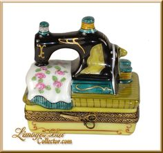 Old-Fashioned Sewing Machine Retired Limoges box