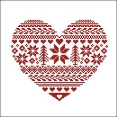 Digital item Ornamental Heart nordic scandinavian cross stitch pattern needlepoint