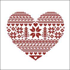 Digital item Ornamental Heart nordic scandinavian cross stitch pattern needlepoint