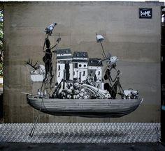 Christian Kraemer aka Dome. Monochromatic street art.   Tumblr