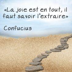 """""""La joie est en tout, il faut savoir l'extraire"""" Confucius [Citations et bonheur]"""