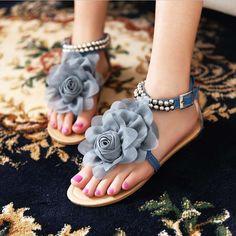 Big size 34-43 2016 Gladiator Sandals for Women Bohemia Beaded Summer Flower Flat Heels Flip Flops Women's Shoes Tstraps Sandals