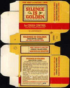 Bristol-Myers - Silence is Golden for cough control - cough drop lozenges box - 1972 Miniture Food, Miniture Things, Printable Labels, Printables, Silence Is Golden, Doll House Crafts, All The Small Things, Vintage Packaging, Natural Honey