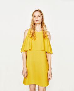 ZARA YELLOW OFF-THE-SHOULDER DRESS