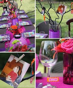 This idea for photo branches is amazing!  If not for centerpiece then maybe on dessert buffet