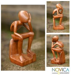 Wood Carving  thinking man