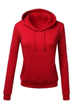 Free Shipping Worldwide for Womens Slim Plain Long Sleeve Active Drawstring Pullover Hoodie Red, on sale now at our lowest price ever! Shop PinkQueen.com, the sexy way to save.