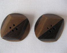 Large wooden buttons; inlaid wood, brown,  vintage, two pieces, four-holes, handmade