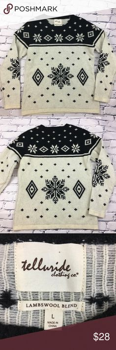 """NWOT - Telluride Clothing Co. Lambswool Sweater NWOT - Telluride Clothing Co. Lambswool Sweater.  Very thick, warm & cozy pullover sweater with snowflake design. Brand new, without tags.   🌺Size: Large 🌺Chest: 19.5"""" (flat lay)       Length: 25.5""""       Sleeve Length: 25"""" 🌺Material: Lambswool/Nylon blend Telluride Clothing Co. Sweaters"""