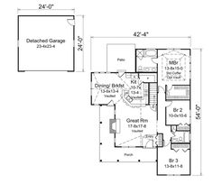Cottage Style House Plan - 3 Beds 2 Baths 1582 Sq/Ft Plan #57-618 Floor Plan - Main Floor Plan - Houseplans.com