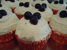 Gluten free blueberry cupcakes with real vanilla buttercream icing by Velvet Rose Cakes, London
