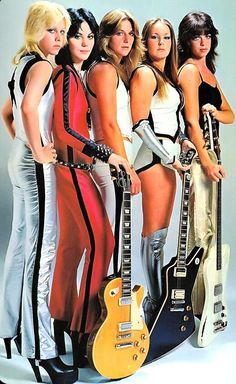"""THE RUNAWAYS 1976.The Runaways were an 1970's American rock band . They released four studio albums and one live set. Songs include """"Cherry Bomb"""", """"Hollywood"""", """"Queens of Noise"""" """"Rock & Roll"""". The Runaways, became a sensation in Japan. Joan Jett went on to form Joan Jet & the Blackhearts. (from Seventies Glamour by David Wills 2014 )(please follow minkshmink on pinterest) #therunaways #joanjett"""