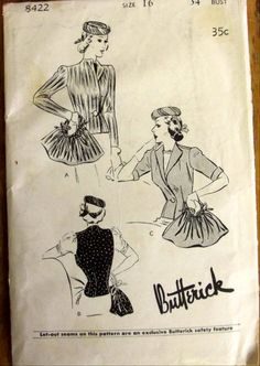 Butterick 8422 | ca. 1939 Hat and Bag