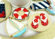 Decorating cookies in the summer can be a nightmare if you don't know some key tips! Have you ever spent hours making your cookies and lovingly decorating them, Farm Cookies, Gourmet Cookies, Iced Cookies, Iced Biscuits, Cookies Et Biscuits, Best Royal Icing Recipe, Flip Flop Cookie, Sugar Cookie Royal Icing, Summer Cookies