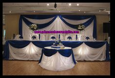 Tall Wedding Centerpieces Royal Blue   Royal Blue Satin Backdop with Spot Lighting by Princess Decor ...