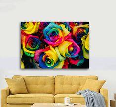 Πίνακας σε καμβά, τελαρωμένος – έτοιμος για τοποθέτηση   Εκτύπωση θέματος με ψηφιακή εκτύπωση σε καμβά 100% βαμβακερό  Τελάρο κουτί 4,5 cm Colorful Roses, Gallery, Painting, Art, Art Background, Roof Rack, Painting Art, Kunst, Paintings