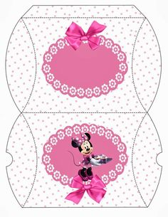 Minnie with Pink Polka Dots: Free Printable Pillow Box. Diy Gift Box, Diy Gifts, Mickey E Minnie Mouse, Paper Box Template, Dots Free, Diy And Crafts, Paper Crafts, Disney Princess Party, Box Patterns
