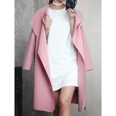 Choies Pink Lapel Tie Waist Longline Coat ($41) ❤ liked on Polyvore featuring outerwear, coats, pink, longline coat, tie waist coat, long pink coat, pink coat and long coat