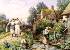 Out of School ~ Myles Birket Foster ~ (English: 1825-1899)