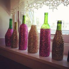 Glitter Glass Wine Bottles, Decorative Wine Bottles, Custom Home Decor