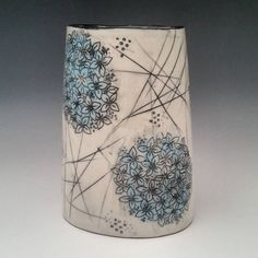 Spring is just a few weeks away, this Hydrangea vase popped out of the kiln just in time!