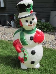 Large Blow Mold Snowman W Wreath Christmas Winter Lighted Vintage USED Rare