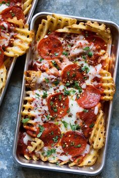 Pizza waffle fries recipe. This makes a delicious tasty homemade snack or an indulgent dinner for a date night in with your boyfriend, girlfriend, or best friend. It's like nachos, just WAY better.