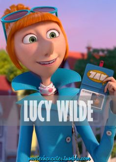 LUCY WILDE  Played By: Kristen Wiig(Voice) Film: Despicable Me 2 Year: 2013 Redhead Cartoon Characters, Movie Characters, Female Characters, Minions Despicable Me, My Minion, Disney Movie Posters, Disney Movies, Pierre Coffin, Lucy Wilde
