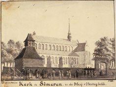 Someren: Jan de Beijer (Aarau 1703-Emmerik 1780). De kerk met op de voorgrond een uitvaart. Gewassen pentekening, 1738. 's-Hertogenbosch, Noordbrabants Museum.