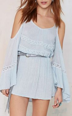 Off shoulder gauzy dress