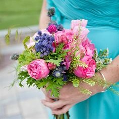 Pink and Blue Bridesmaid Bouquet