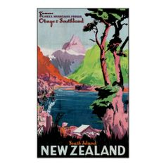 Vintage Otago New Zealand Travel Poster Art