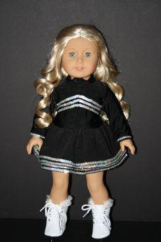 "Black Sequin Figure Ice Skating Set fits 18"" American Girl Doll $21.00"