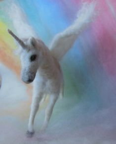 Needle Felted Unicorn Winged Pegasus by ClaudiaMarieFelt on Etsy