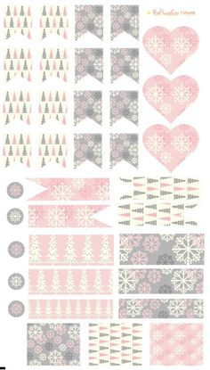 Pink and Gray Christmas Trees and Snowflakes Page Flags, Hearts, Circles amd half Box Stickers Planner Stationery by PinkSunshineSupplies on Etsy Calendar Stickers, Printable Stickers, Planner Stickers, Grey Christmas Tree, Glam Planning, Planner Tabs, Printable Planner Pages, Planner Decorating, Washi