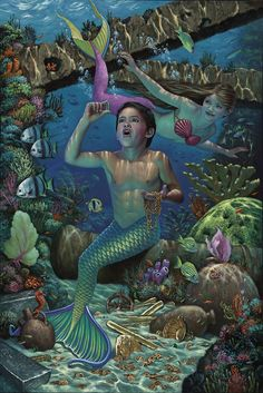 Mermaids by Sirene e Tritoni Fantasy Mermaids, Mermaids And Mermen, Types Of Mermaids, Mermaid Boy, Mermaid Pictures, Bo Bartlett, Merman, Merfolk, Sea And Ocean