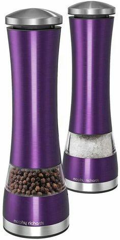 Morphy Richards Electronic Salt and Pepper Mill Set - Purple - Love this color! Purple Rain, Deep Purple, Pink Purple, Purple Glass, Light Purple, Purple Home, Purple Kitchen Accessories, Gris Violet, My Favorite Color