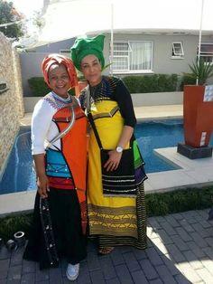 Shweshwe Dresses For Makoti New Bride 2019 - Fashionre Xhosa Attire, African Attire, African Wear, African Dress, African Style, African Beauty, African Traditional Wedding, African Traditional Dresses, Traditional Fashion
