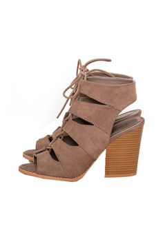 Lace Up Suede Cut Out Low Chunky Heel Available colors: Taupe / Black / Toffee Qupid BARNES-01A